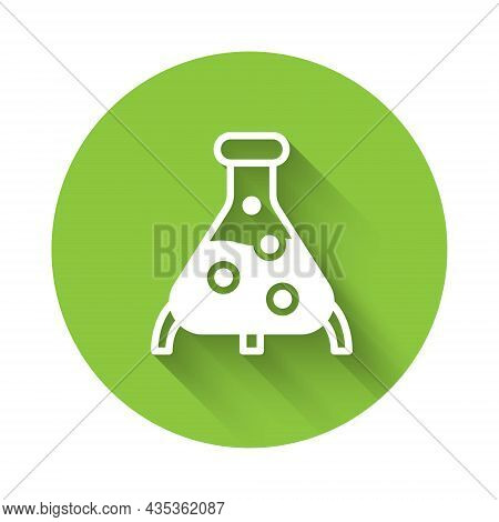 White Test Tube And Flask Chemical Laboratory Test Icon Isolated With Long Shadow. Laboratory Glassw