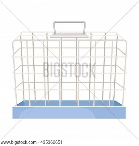 Metal Wire Cage For Pet Animals Vector Illustration