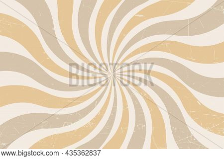 Grunge Retro Spiral Background In Pastel Colors. Abstract Twisted Retro Background With Color Rays.
