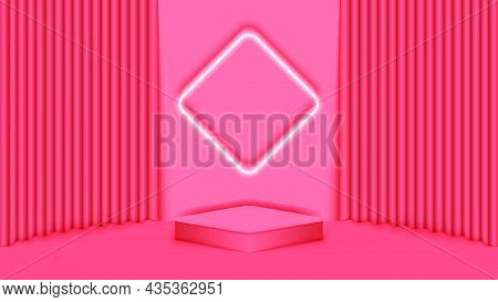 3d Stage For Product Presentations With A Square Platform And Diamond-shaped Lighting On A Soft Red