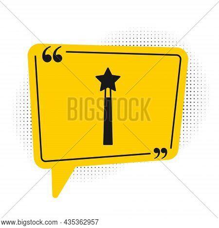 Black Magic Wand Icon Isolated On White Background. Star Shape Magic Accessory. Magical Power. Yello