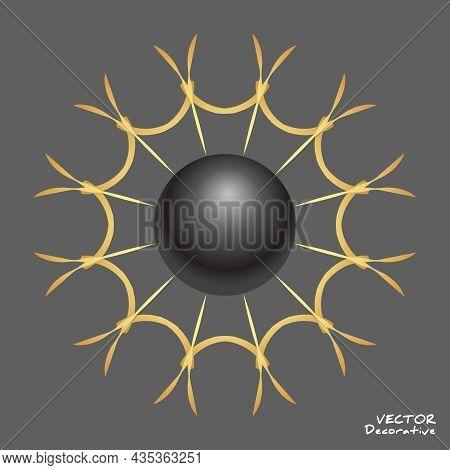 Black Pearl Inside Gold Decorative Web. Sphere Inside Golden Stelized Sun Template. Vector Design El