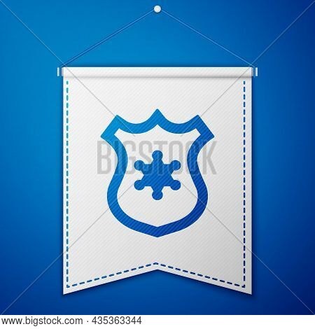 Blue Police Badge Icon Isolated On Blue Background. Sheriff Badge Sign. White Pennant Template. Vect