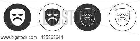 Black Drama Theatrical Mask Icon Isolated On White Background. Circle Button. Vector