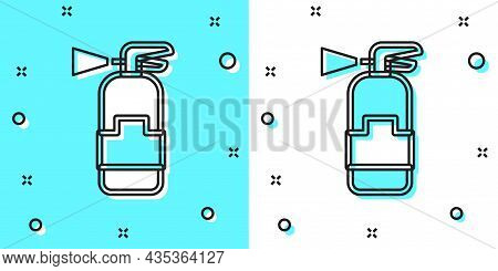Black Line Fire Extinguisher Icon Isolated On Green And White Background. Random Dynamic Shapes. Vec