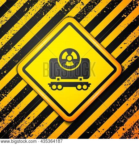 Black Radioactive Cargo Train Wagon Icon Isolated On Yellow Background. Freight Car. Railroad Transp