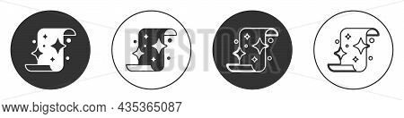 Black Magic Scroll Icon Isolated On White Background. Decree, Paper, Parchment, Scroll Icon. Circle