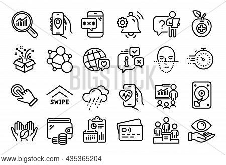 Vector Set Of Medical Food, Phone Password And Data Analysis Line Icons Set. Calendar Report, Money