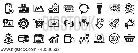 Set Of Business Icons, Such As Bitcoin, Seo Phone, Medical Help Icons. Loan Percent, 360 Degrees, De
