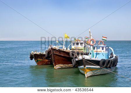 Ferry Boats Off Bet Dwarka Gujarat India