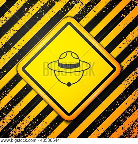 Black Canadian Ranger Hat Uniform Icon Isolated On Yellow Background. Warning Sign. Vector