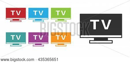 Black Smart Tv Icon Isolated On White Background. Television Sign. Set Icons Colorful. Vector