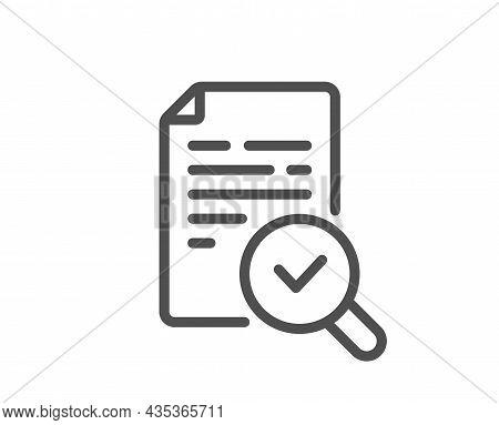 Inspect Line Icon. Quality Research Sign. Verification Document Symbol. Quality Design Element. Line