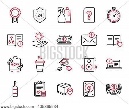 Vector Set Of Line Icons Related To Read Instruction, Shampoo And Spray And Brandy Bottle Icons. Sun