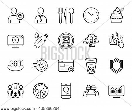 Vector Set Of Seo Timer, Find User And Security Line Icons Set. Buying Process, Human And Teamwork I
