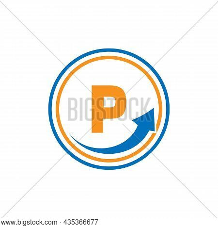 Finance Logo With Growth Arrow On P Letter. Letter P Marketing And Financial Business Logo Template