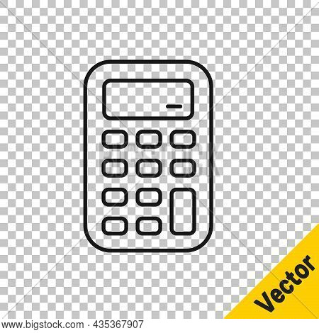 Black Line Calculator Icon Isolated On Transparent Background. Accounting Symbol. Business Calculati