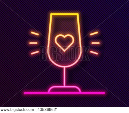 Glowing Neon Line Wine Glass Icon Isolated On Black Background. Wineglass Sign. Favorite Wine. Vecto