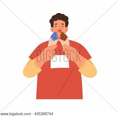 Happy Man With Ice Cream Cones In Hands. Person Licking Icecream. Guy Enjoying Sweet Dessert, Eating
