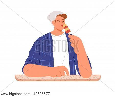 Man Eating Sweet Dessert, Licking Icecream On Stick. Young Person Enjoying Ice Cream With Pleasure.