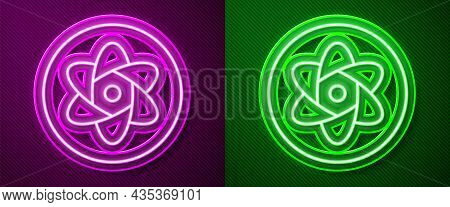 Glowing Neon Line Test Tube And Flask Chemical Laboratory Test Icon Isolated On Purple And Green Bac
