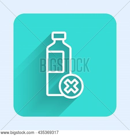 White Line No Water Bottle Icon Isolated With Long Shadow Background. No Plastic Bottle. Water Bottl