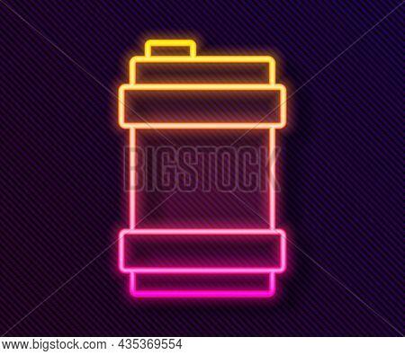 Glowing Neon Line Metal Beer Keg Icon Isolated On Black Background. Vector