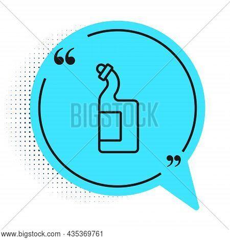 Black Line Dishwashing Liquid Bottle Icon Isolated On White Background. Liquid Detergent For Washing