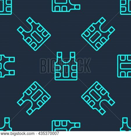 Green Line Bulletproof Vest For Protection From Bullets Icon Isolated Seamless Pattern On Blue Backg