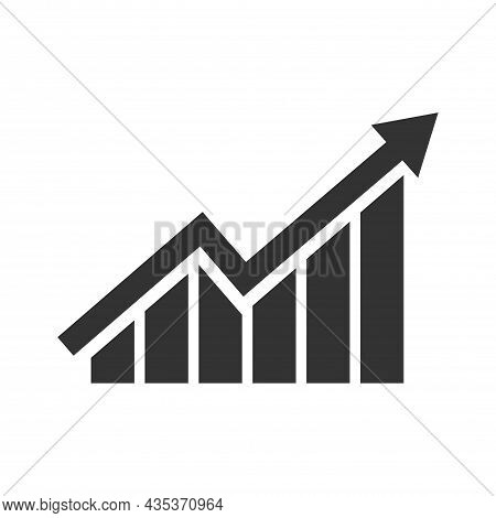 Growing Bar Graph Icon In Black On A White Background. A Symbol Of Success, Profit And Career Growth
