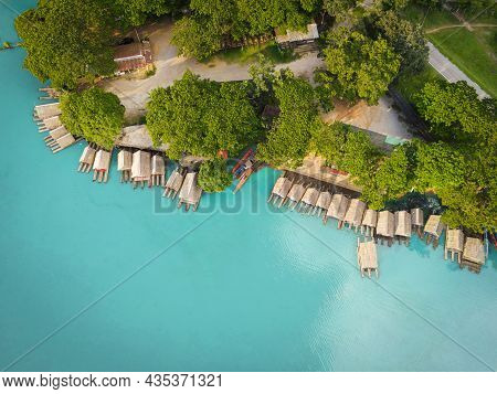 Aerial View Blue Water River, Top View Sea Blue Lagoon Pond Water From Above, Bird Eye View Green Tr