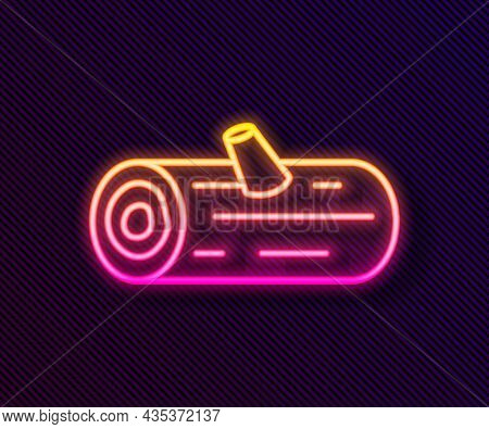 Glowing Neon Line Wooden Logs Icon Isolated On Black Background. Stack Of Firewood. Vector