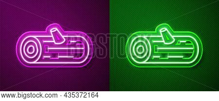 Glowing Neon Line Wooden Logs Icon Isolated On Purple And Green Background. Stack Of Firewood. Vecto