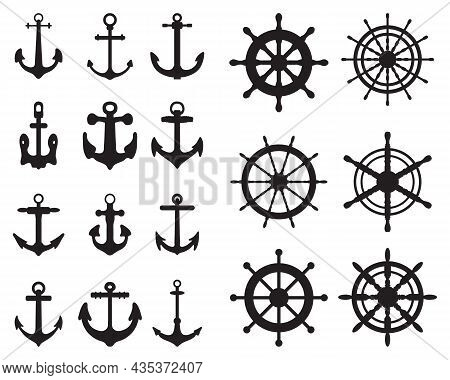 Set Of Anchor And Rudders Symbols Or Logo Template