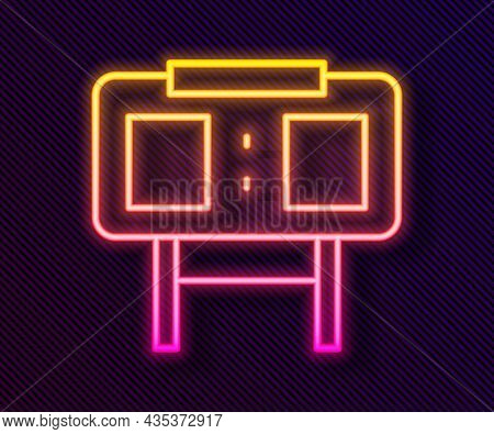 Glowing Neon Line Sport Mechanical Scoreboard And Result Display Icon Isolated On Black Background.