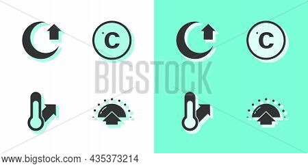 Set Sunrise, Moon, Meteorology Thermometer And Celsius Icon. Vector