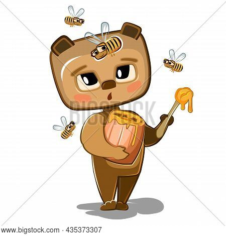 Cartoon Bear With A Sweet Tooth Eating Honey From A Little Wooden Barrel. Teddy Afraid Of The Bee. F