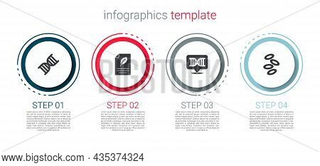 Set Dna Symbol, Eco Paper With Leaf, And Hemoglobin. Business Infographic Template. Vector