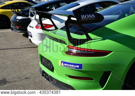 Mugello Circuit, Italy - 23 September 2021: Detail Of Porsche 911 Gt3 In The Paddock Of Mugello Circ