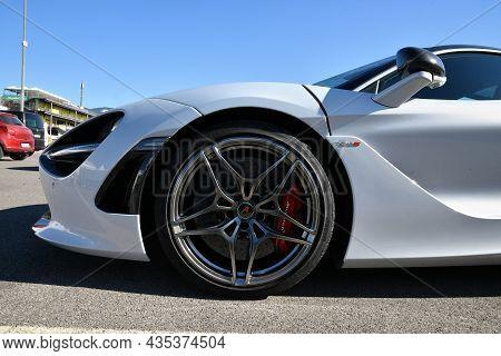 Mugello Circuit, Italy - 23 September 2021: Detail Of An Alloy Wheel Rim With Brake Caliper Of A Mcl
