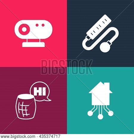 Set Pop Art Smart Home, Voice Assistant, Electric Extension Cord And Web Camera Icon. Vector