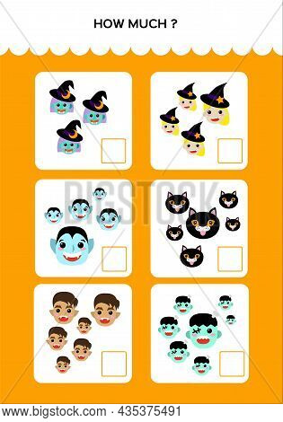 Happy Halloween Math Game For Kids With Monsters. Mathematical Practice. Education Game For Children