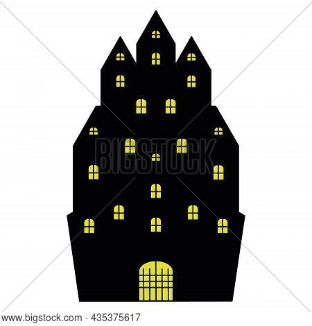 Lock. Silhouette. An Old Mansion. A Bright Light Is Burning In The Windows Of The Gloomy House. Vect