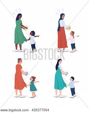 Child Demands Attention Semi Flat Color Vector Character Set. Full Body People On White. Family Memb