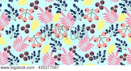 Leaves And Berries Pattern. Seamless Pattern With Pink Rowan Leaves, Yellow Oak Leaves With Berries.