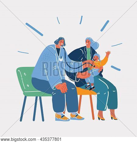 Vector Illustration Of Pediatrician Examining Child In The Doctor Office