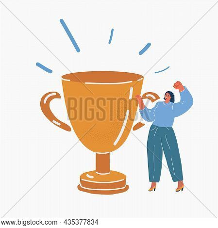 Vector Illustration Of Businesswoman To Be Number One With Trophy