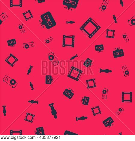 Set Movie Trophy, 3d Cinema Glasses, Movie, Film, Media Projector And Play Video On Seamless Pattern