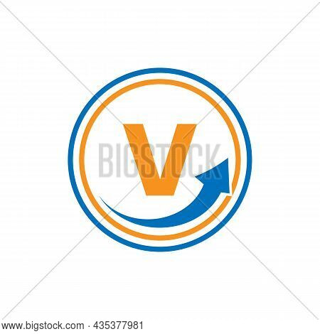 Finance Logo With Growth Arrow On V Letter. Letter V Marketing And Financial Business Logo Template