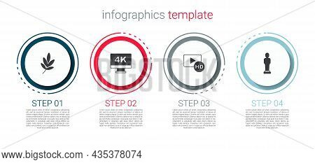 Set Movie Trophy, Screen Tv With 4k, Hd Movie, Tape, Frame And . Business Infographic Template. Vect